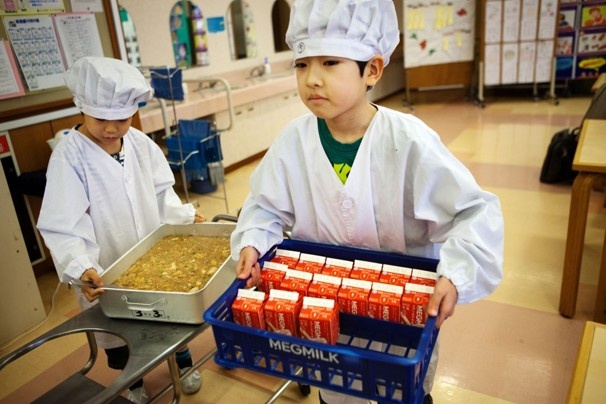 "On Japan's school lunch menu: A healthy meal, made from scratch  District officials allow themselves to brag for just one reason, their success in cutting food waste to 5 percent. This follows the ""Oishii Kyushoku,"" or ""Delicious School Lunch,"" program they created five years ago to get kids more interested in what they were eating."