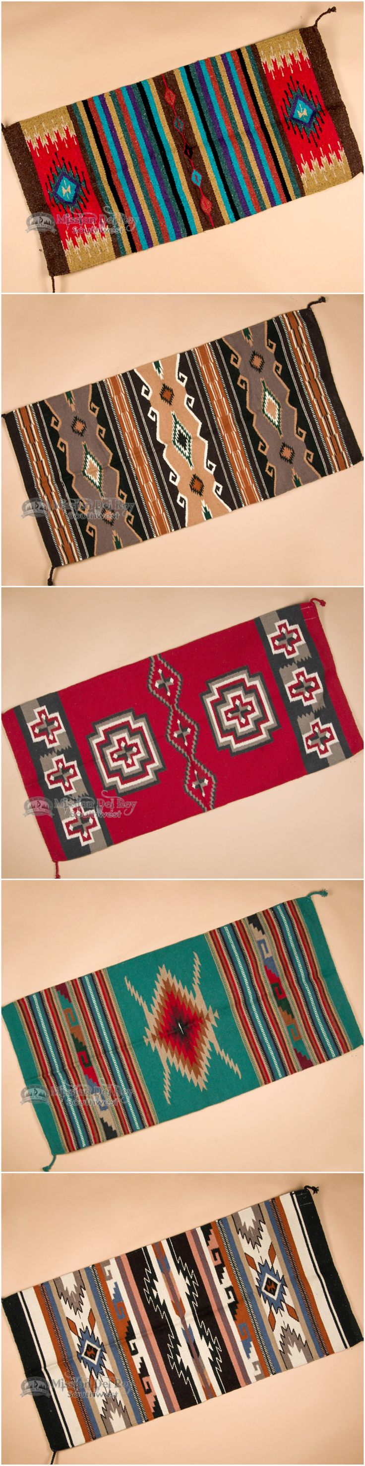 Hand woven southwestern rugs are beautifully designed for a cabin, Santa Fe style, rustic home, or anywhere you want to add great southwest style. Made with designs and patterns like traditional Navajo Indian rugs, southwestern rugs are hand woven with beautiful high quality wool. Choose from a wide selection of colors, designs and sizes, and sign up for our newsletter to receive exclusive discounts and coupons. Find more southwestern rugs and  home decor at www.missiondelrey....