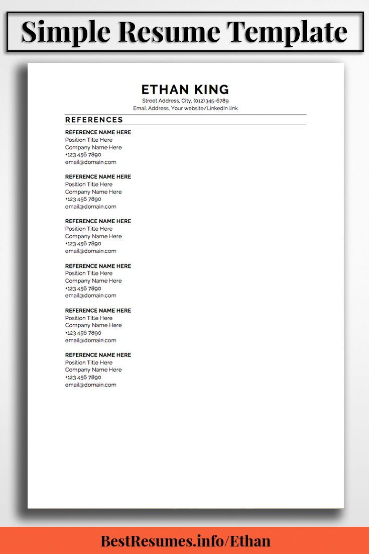 Resume Template Ethan King Simple Resume Templates