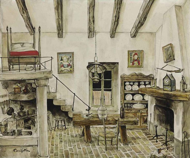 My Interior, 1950, Fujita Tsuguharu / Leonard Foujita. 藤田嗣治