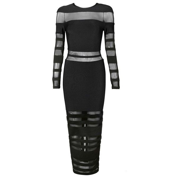 Black Long Sleeve Mesh Bandage Dress Evening Gown Dresses (320 PLN) ❤ liked on Polyvore featuring dresses, gowns, long sleeve evening gowns, long sleeve dress, mesh evening gowns, longsleeve dress and long sleeve mesh dress