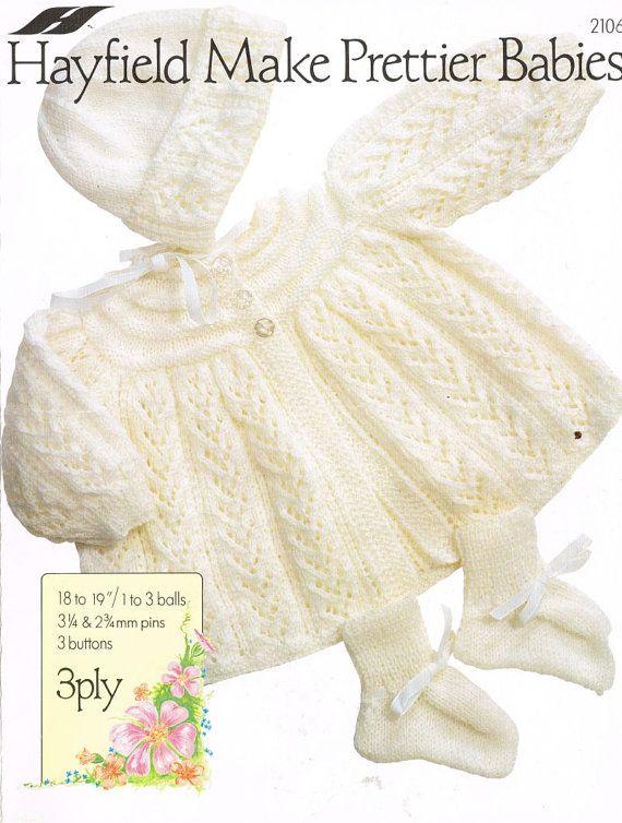 baby+matinee+coat+and+bonnet+set+vintage+knitting+by+Ellisadine