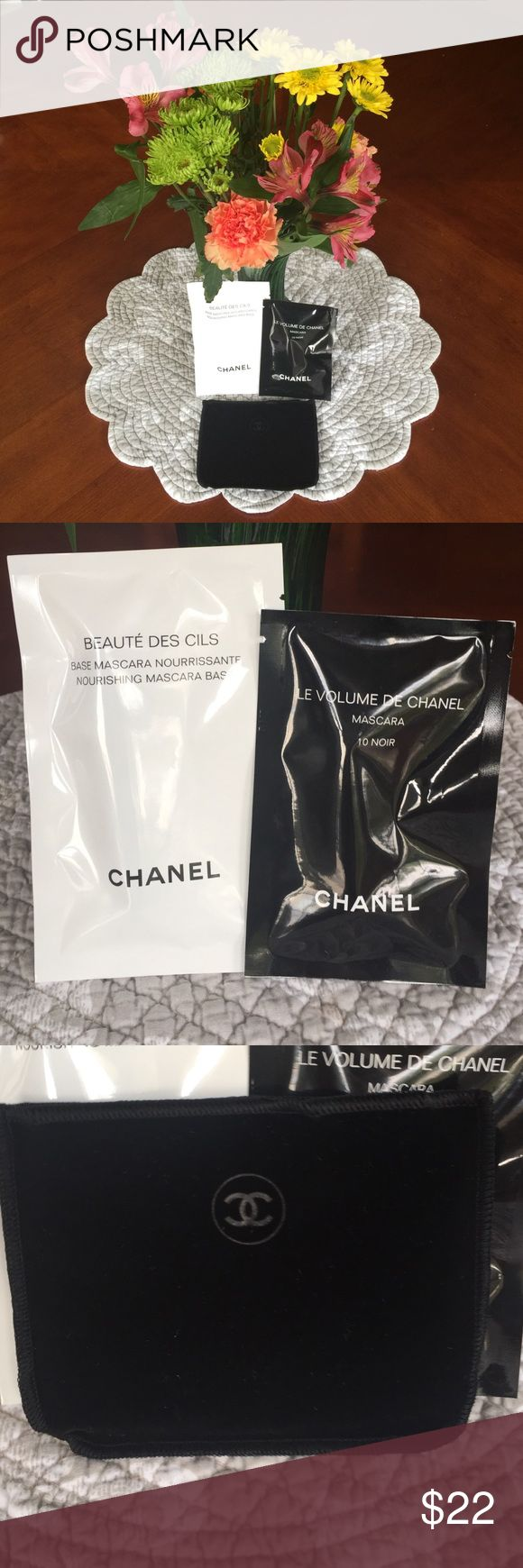 """💋❤️Chanel Mascara, Mascara Base & Travel Pouch💋 This high precision mascara comes in a 3"""" travel sz tube.  It achieves instant volume & intensely lush color in a single stroke.  The Chanel Mascara Base is the All-Important 1st step in strengthening lashes. Can also be worn as a """"mask"""" to strengthen lashes at night!  This travel sz tube is approximately 4"""".  I'm also including a velvet open ended travel pouch!  Enjoy! 🎁🍾👠💋Regular sz retail for $32 each CHANEL Makeup Mascara"""