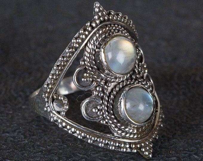 Anillo de boda de la piedra lunar | Anillo de Piedra de Luna de Plata | Etsy Anillo de Piedra Lunar | Anillo de compromiso de Moonstone