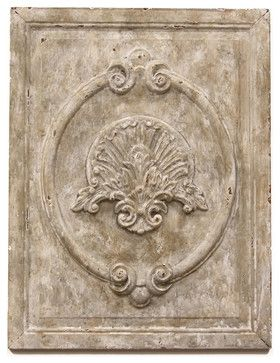Maçonnerie Antique White French Country Carved Wood Panel Wall Sculpture traditional artwork