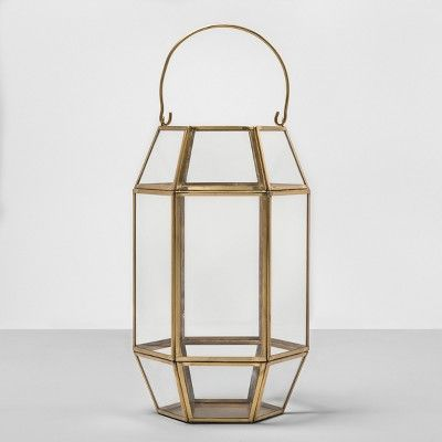 13″ Hexagon Outdoor Lantern Gold Frame – Opalhouse