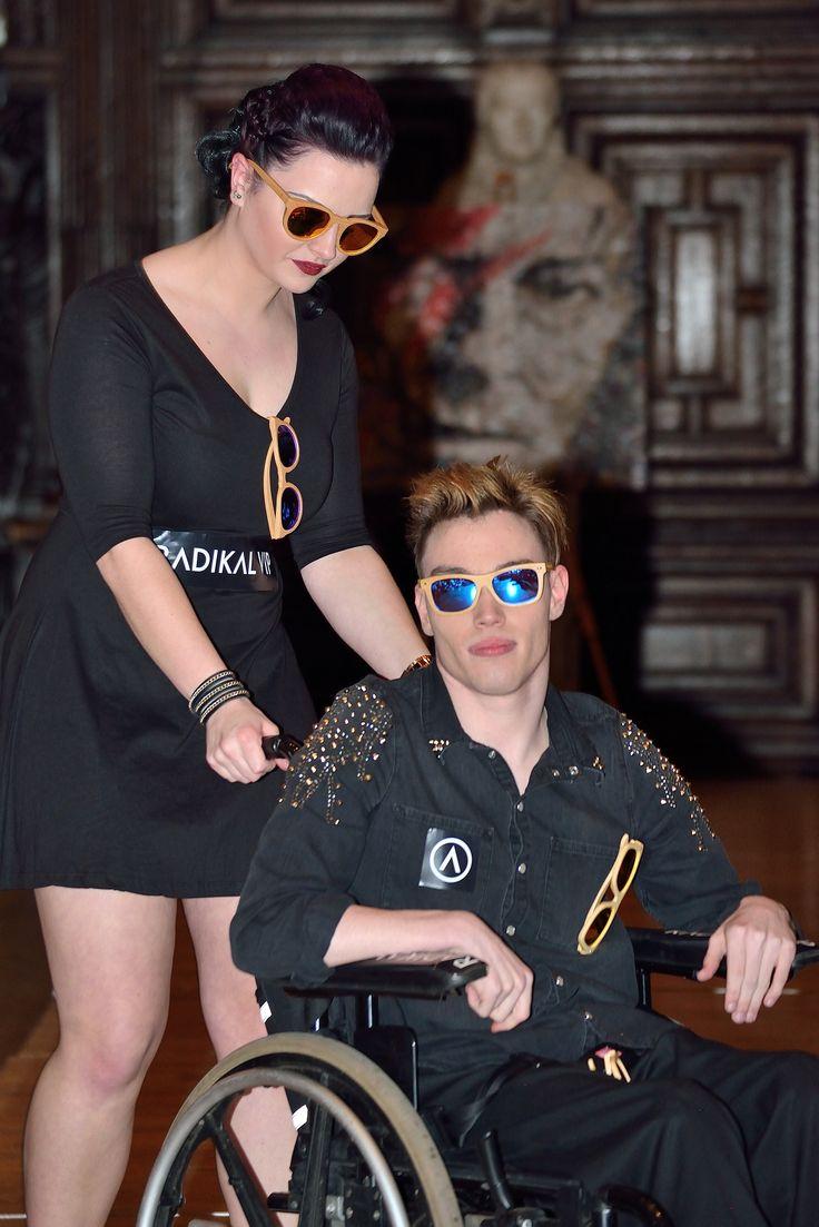 The best model from #lfw Nathan Jones,  #diversity #runway wheel chair models LONDON FASHION WEEK EYEWEAR COLLECTION