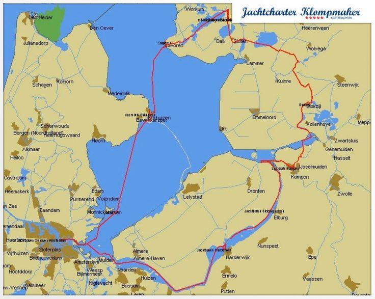 Vaarroutes voor motorjachten/ motorbootverhuur  in Friesland, Overijssel, en IJsselmeer