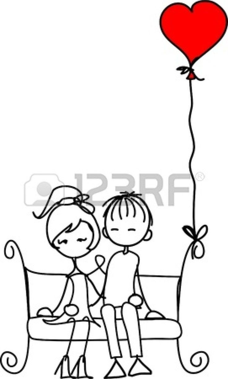 Valentine doodle boy and girl Stock Vector