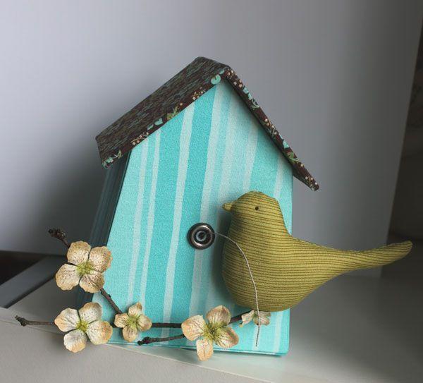 Casetta uccellini legno rivestita stoffa