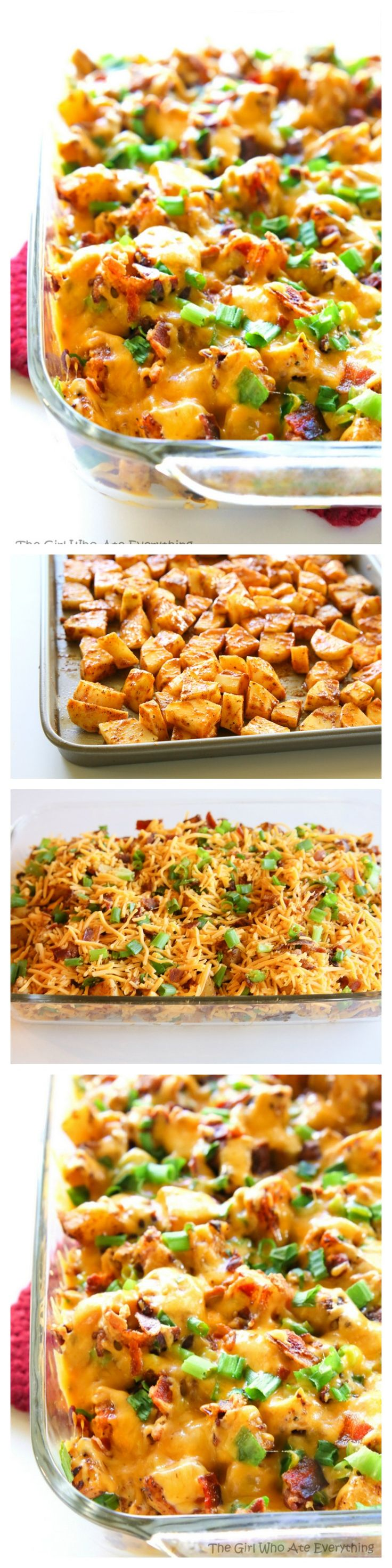 This Buffalo Chicken and Potato Casserole is layered with buffalo seasoned potatoes, chicken, and topped with cheese, bacon, and onions. Drizzle it with a little blue cheese to serve. the-girl-who-ate-everything.com