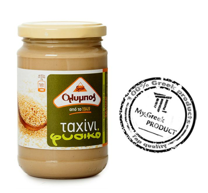 """Olympos"" Light Tahini is a wholesome, nutritious food of purely plant origin, made exclusively of hulled, slightly roasted and ground sesame seeds, rich in protein and calcium."
