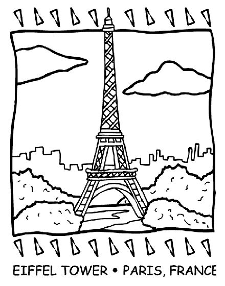 eiffel tower coloring page - Coloring Pages Toddlers