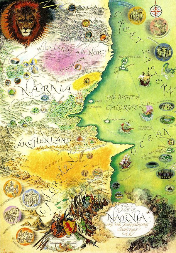 Map of Narnia and its surrounding lands. By Pauline Baynes. Via http://imgur.com