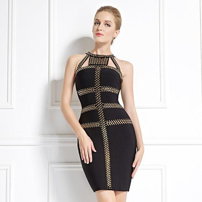 Gold Schwarz Abendkleid Mini   Kleider, Abendkleid, Damen mode