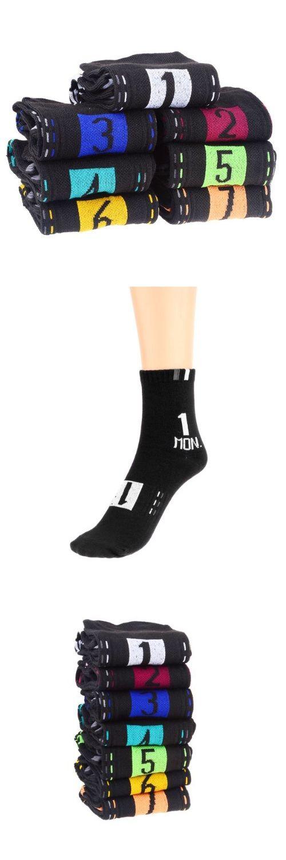 HOT SALE!Novelty Daily Socks 7 Days Week Socks for Men (7 Pair/Set)Black