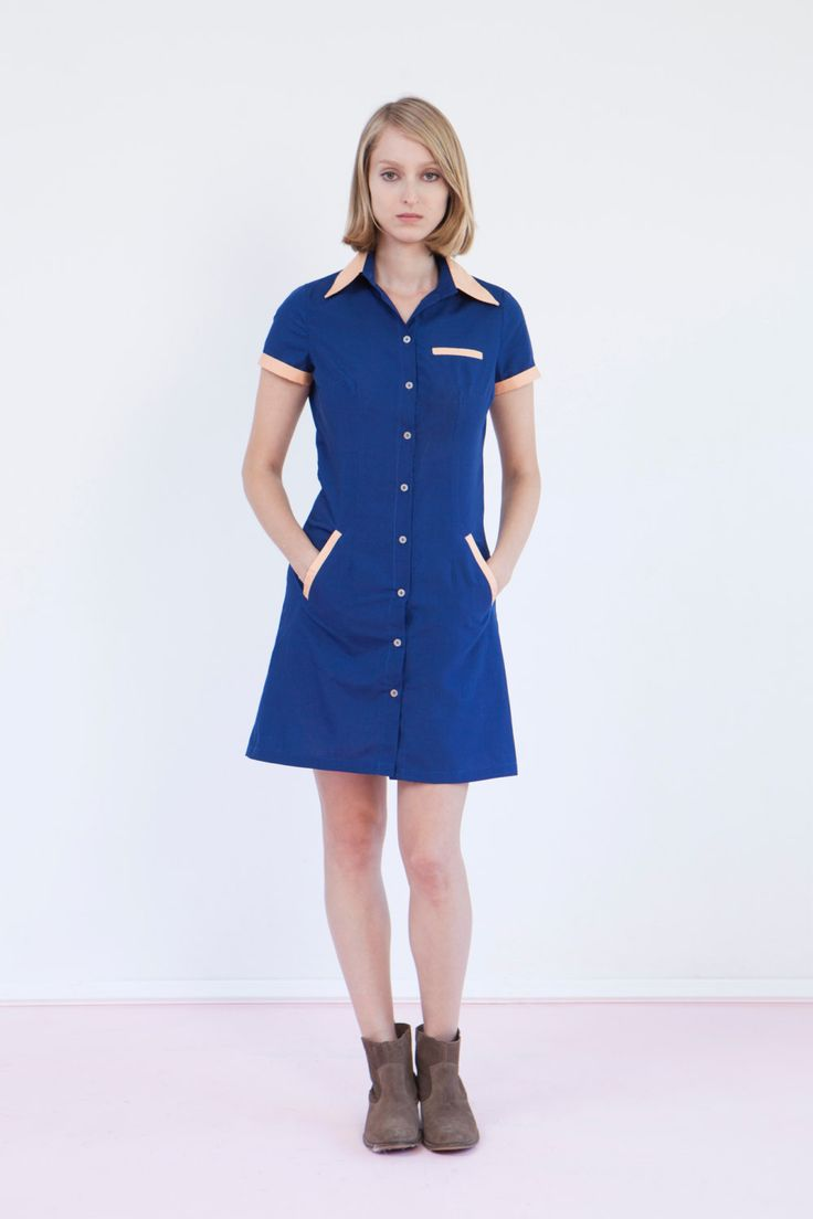 Waitress uniform retro dress diner dress blue dress by Biantika, ₪317.00