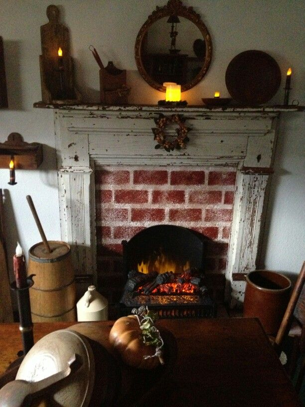 Primitive fireplace decor find this pin and more on colonial decor primitive teraionfo
