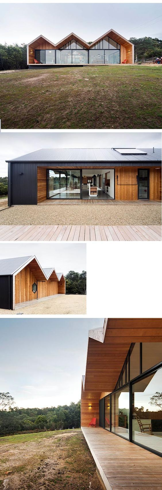 Lookout House: full height glazing, light timber + dark cladding relationship