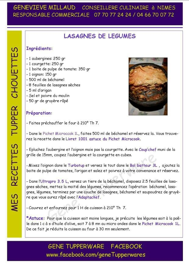 Tupperware - Lasagnes de légumes