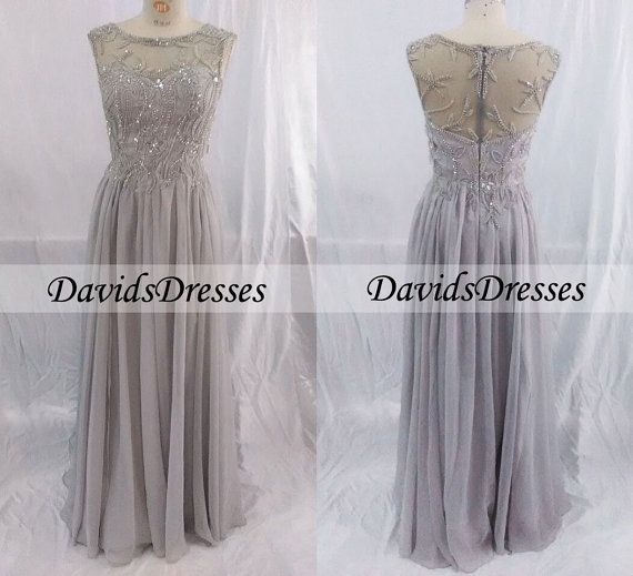 Grey Beaded Sleeveless Long Mother Of The Bride Dresses, Cheap Grey Bridesmaid Dresses 2015, Wedding Guest Dresses