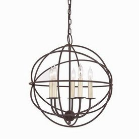 Globe 18-in W Rust Pendant Light with Shade