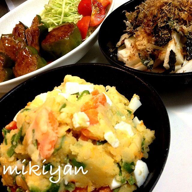サラダに初めてピーマン入れてみました( ̄^ ̄)ゞ 湯がいてから入れたお陰かな?苦味減少でアリでしたˆ̭̭͙(๑˃ ૂ૨͜ ˂) サラダにピーマンの提案、琴ちゃんありがとね❤ - 68件のもぐもぐ - ピーマン入りポテサラ、長芋の短冊切り by mikisawa