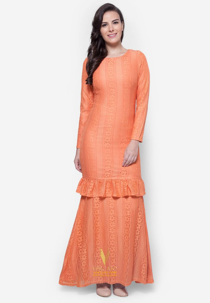 Baju Kurung Lace - Vercato Alyssa in Orange. Buy baju kurung moden lace with ruffled hem. SHOP NOW: www.vercato.com
