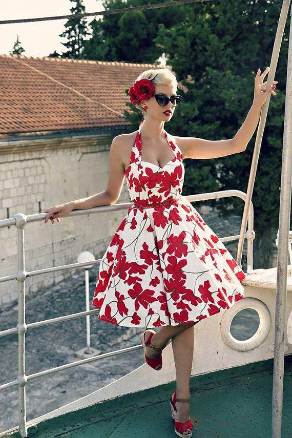 Red Floral Dress Vintage Dress Christmas Dress Rockabilly Pin Up Dress 50s Retro…