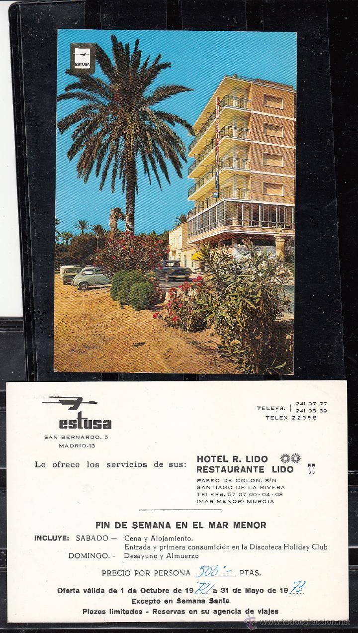 (MAR MENOR) MURCIA. HOTEL R. LIDO. POSTAL PUBLICITARIA DE ESTUSA (Postales - España - Murcia Moderna (desde 1.940))