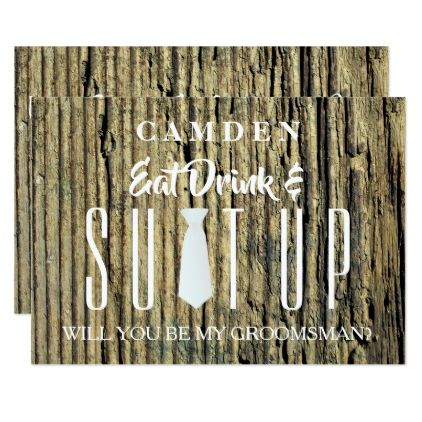 Wood Background Suitup Will you be my groomsman Card - wedding invitations diy cyo special idea personalize card