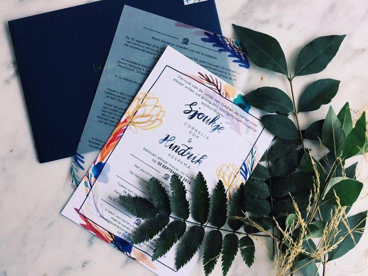 Op maat gemaakte trouwkaarten naar jouw wens! Vrolijk handgemaakt design. -- Unique wedding invitation designs. Handmade design.