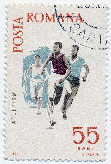 1965 Romanian Stamp - Atletism #vintage #graphic #illustration #sport