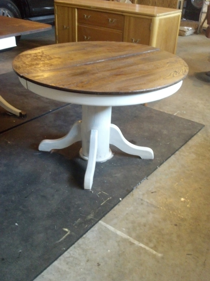 Refinished round farm table d i y repurposed for Round farmhouse kitchen table