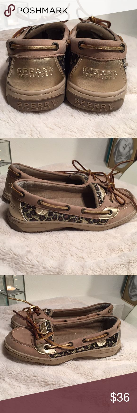 [SHOE SALE!] Sperry Leopard and Gold Top-Siders EUC Top-siders with glitter leopard print and gold leather accents. There is light wear to the inside and a very small scuff on the inner left heel (see photos)  EU 35.5 Shoes Flats & Loafers