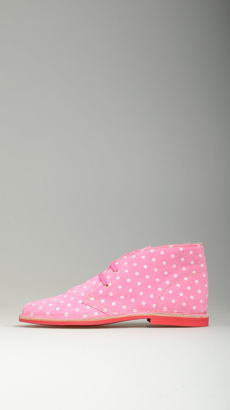 Polka dot pink suede lace-ups desert boots featuring leather midsole, desert boots  manufacturing process, antioxidant eyelets, raw edge stitching, contrast red rubber sole, lining, 100% high quality suede and split grain leather.