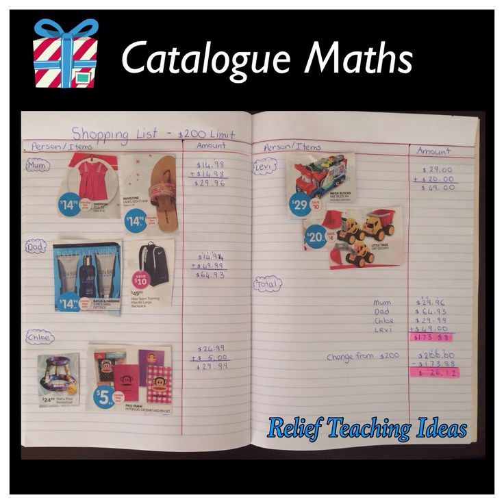 catalogue math, students glue pictures of things to buy for different people down and add up how much the items would cost, could be a fun activity before Christmas