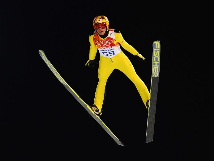 DAY 2:  Noriaki Kasai of Japan jumps during the Men's Normal Hill Individual Qualification