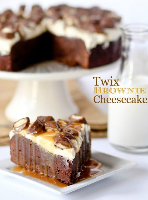 Twix Brownie Cheesecake - @Danielle Lampert Lampert Bockus  - I would take this one also for my birthday.