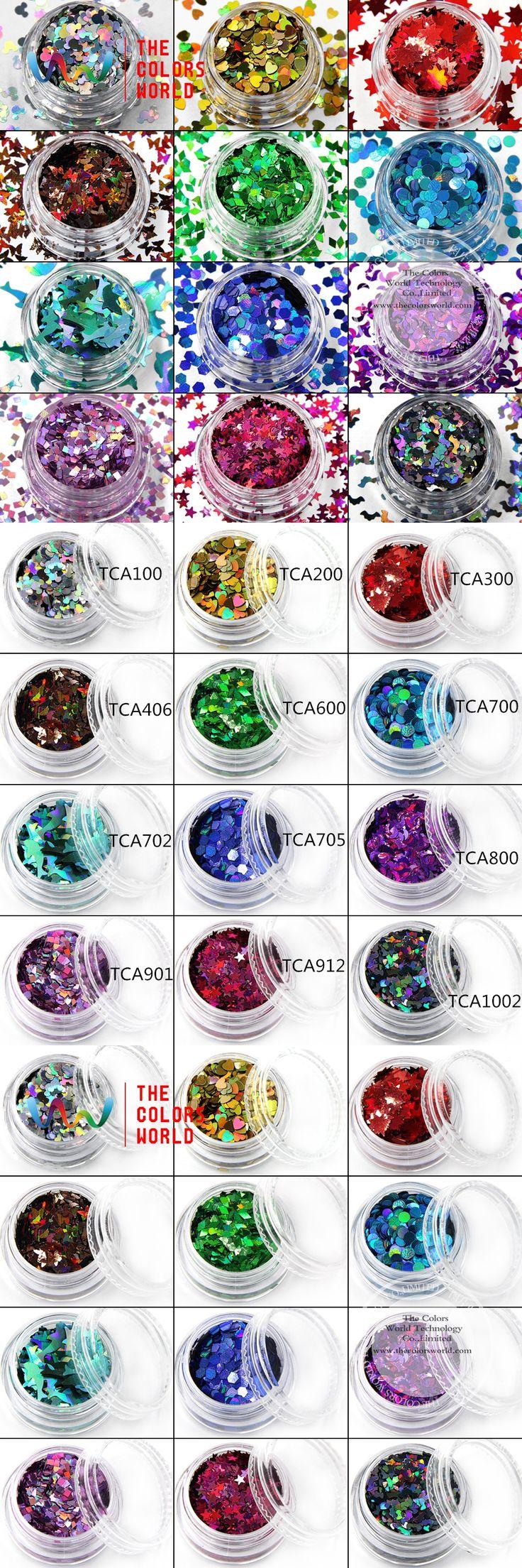 TCAST-001 Laser Color (Holographic )  12 kinds color and 12 kinds shape Glitter for nail art  nail gel,makeup and DIY decoration