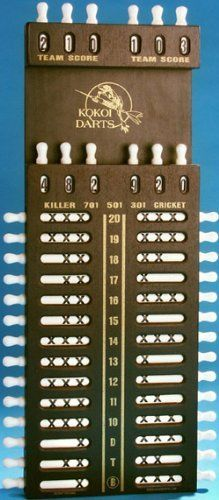 Kokoi Darts Scoreboard by Kokoi Darts. $59.95. The Kokoi Darts Scoreboard eliminates the need for chalk, markers, erasers, and supplies. No more writing down the score, with a simple turn of the knob, your score is recorded and is easy to read. Its classic, distinctive design is useful for scoring in many games, for individual, multiple, or team players. Hand crafted with strength and durability in mind, the main body is built with quality wood veneers, and soli...