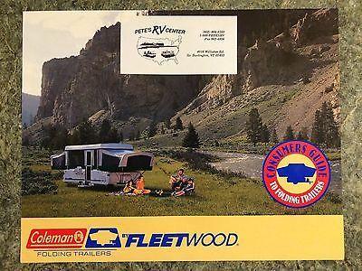 Vintage Coleman Fleetwood Popup Trailer Camper Rv Dealer Brochure Advertising
