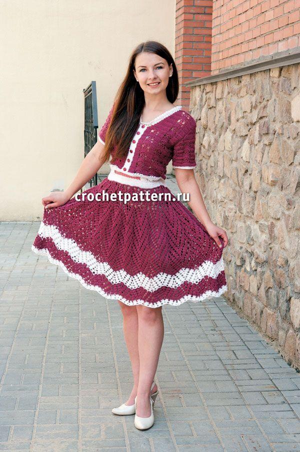Crochet set ♥LCC-MRS♥ with basic diagrams --- Вязаное крючком платье с юбкой «клеш». Страница №101.
