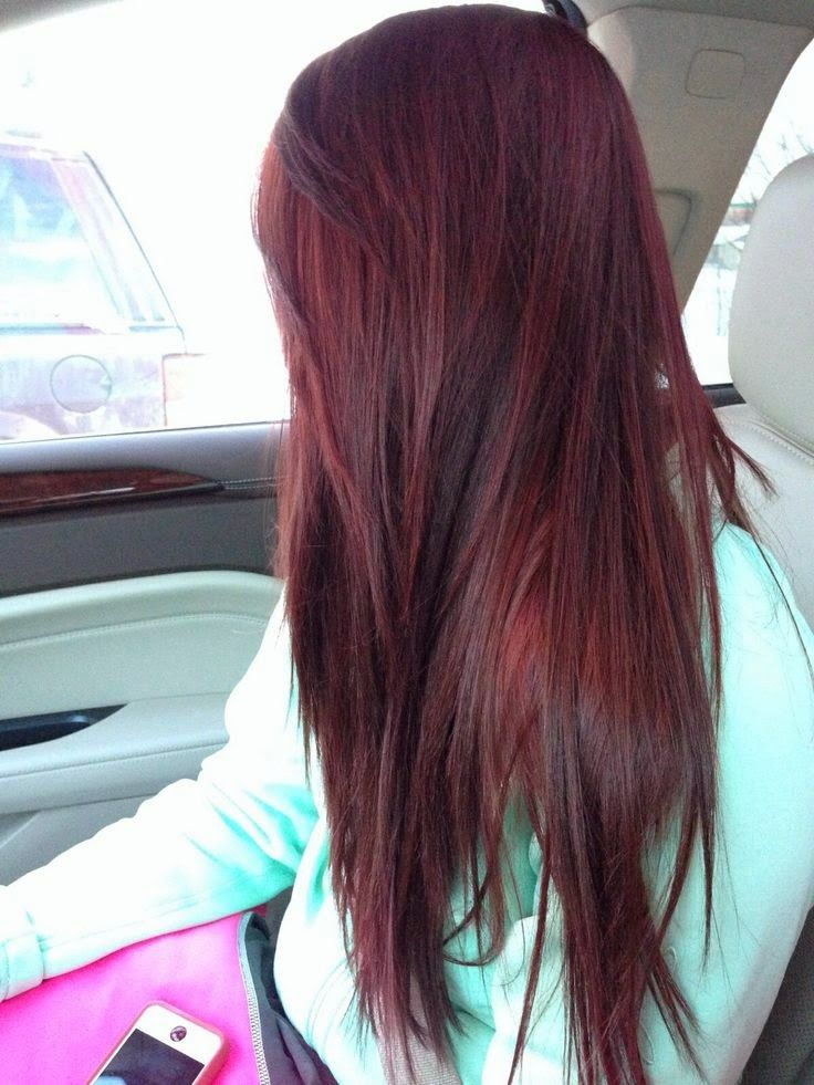 Dark hair, cherry coke highlights. HOLY HAIR, BATMAN! I want this chick's