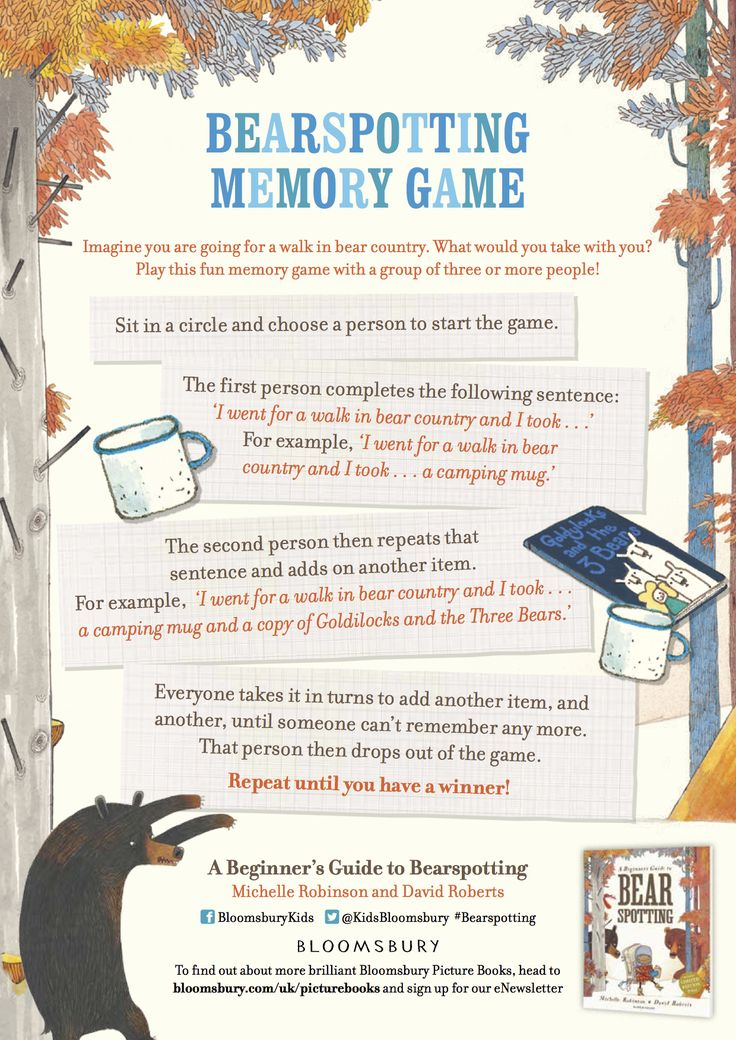 Memory game - from 'A Beginner's Guide to Bear Spotting', Michelle Robinson & David Roberts, Bloomsbury 2016.