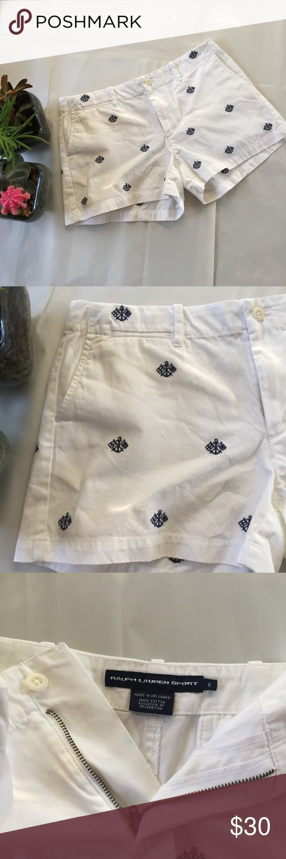 """💐Ralph Lauren💐 NWOT sport white anchor shorts I don't know if it's just me, but these shorts scream summer time and sunny days! They're stark white, which is a great contrast to any tan. 😊 they feature a hidden, fully functional zipper and button in the front, angled pockets, and buttoned back pockets. The material is really soft, too. 100% cotton. 1.5"""" waist band and a 3"""" inseam. Ralph Lauren Shorts"""