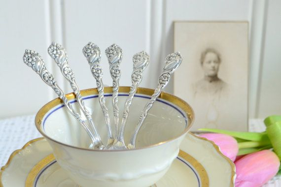 Demitasse coffee spoons, vintage Swedish ornate mocha cutlery, Amsterdam pattern , midcentury flatware, Nils Johan