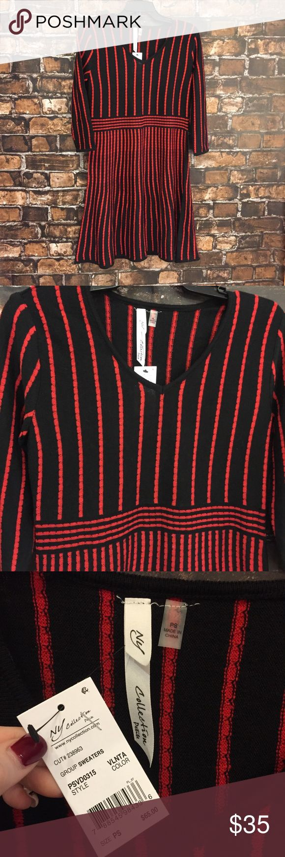 NY Collection Black & Red Striped Holiday Dress This dress is super cute and so so soft!!! Pair with your favorite sparkly tights and some heels for your Holiday party!! Super fun. New with tags!! (D140) Petite Small! NY Collection Dresses