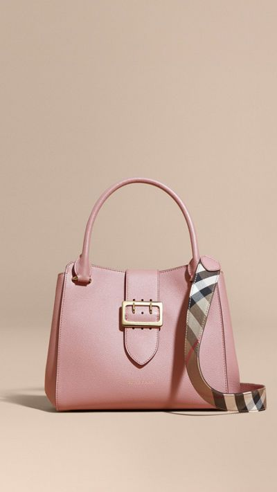 Dusty pink The Medium Buckle Tote in Grainy Leather 9