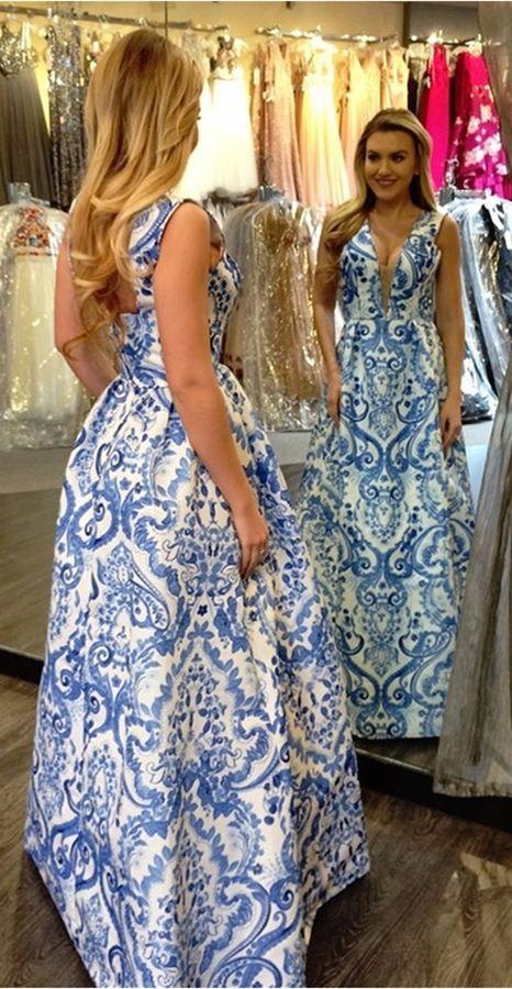 628a7a5c9cd49 elegant a-line blue printed prom dress, fashion deep v-neck white satin  evening dress with floral